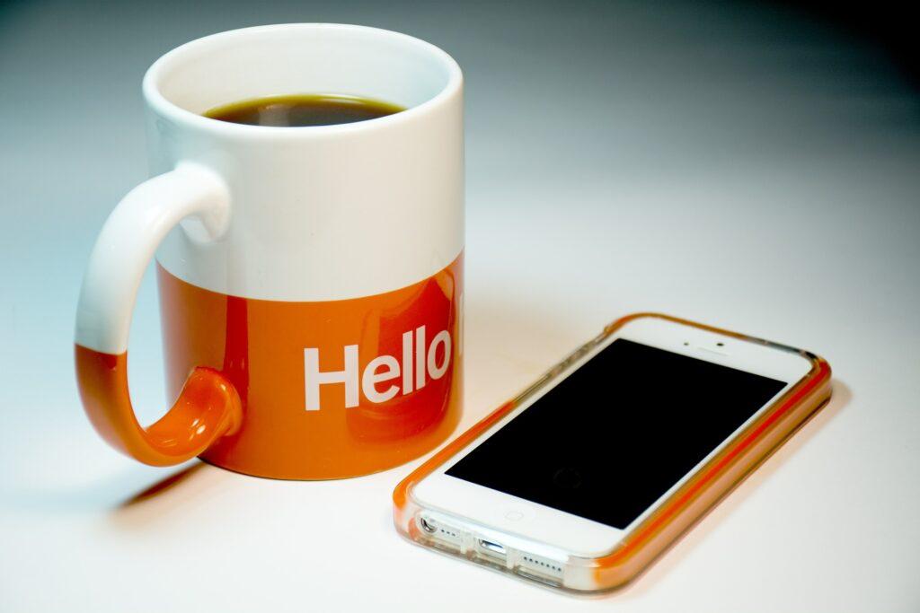 coffee mug and smartphone